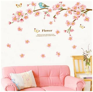 Oren Empower Cute Pink Blossoms with Cute Bird Wall Decals