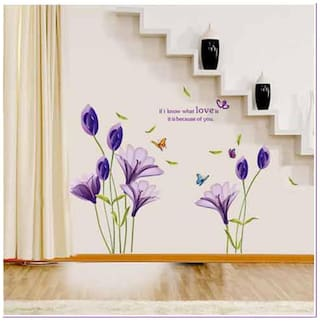 Oren Empower Purple lily flower wall sticker for home d cor