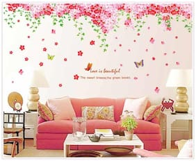 Oren Empower 2pc/set (Double Sheet) Pink decorative flower wall sticker