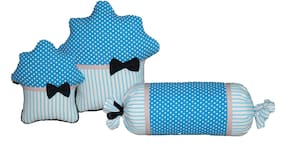 Oscar Home Set of 3 Muffins and Candy Shape Plush Fabric Blue Pillow Stuffed Toys For Babies and Kids