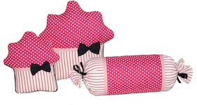 Oscar Home Set of 3 Muffins and Candy Shape Plush Fabric Pink Pillow Stuffed Toys For Babies and Kids