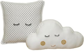Oscar Home white color fine quality 100% cotton fabric  Set of 2 Cloud  Shape Cushion for Baby and Kids.