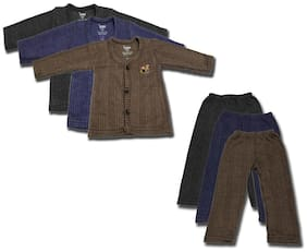 Oswal Multicolor Combo Of 3 Thermal Top And Lower With Free Socks For New Born