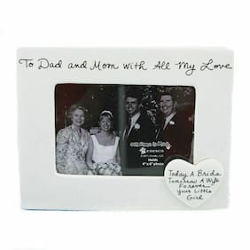 Our Name Is Mud To Dad and Mom Ceramic Photo Frame, 7 inches, Ivory