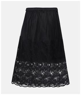Oxolloxo Girl Polyester Embroidered A- line skirt - Black