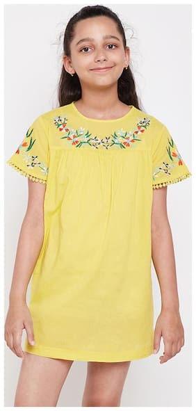 OXOLLOXO Frocks and Dresses For Girl (Yellow)