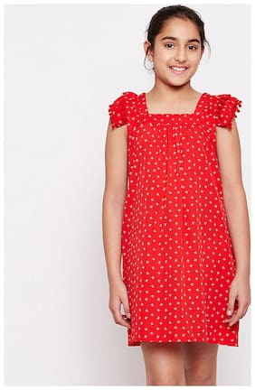 OXOLLOXO Frocks and Dresses For Girl (Red)