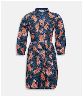 Oxolloxo Blue Polyester Full Sleeves Midi Collar Frock ( Pack of 1 )