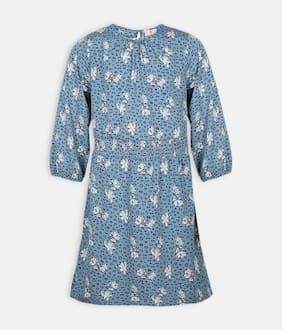 Oxolloxo Blue Polyester 3/4th Sleeves Midi Princess Frock ( Pack of 1 )