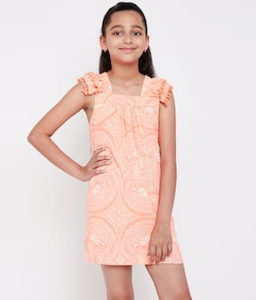 Oxolloxo Orange Polyester Short Sleeves Midi Princess Frock ( Pack of 1 )