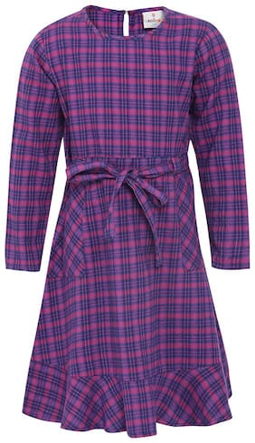 Oxolloxo Purple Cotton Full Sleeves Above Knee Princess Frock ( Pack of 1 )