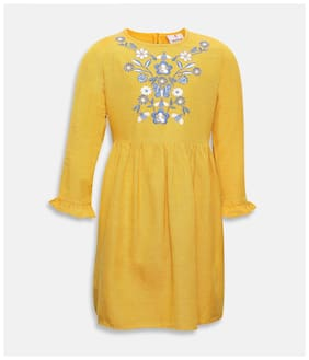Oxolloxo Yellow Viscose Full Sleeves Midi Collar Frock ( Pack of 1 )