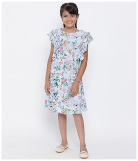 Oxolloxo Multi Viscose Short Sleeves Knee Length Princess Frock ( Pack of 1 )