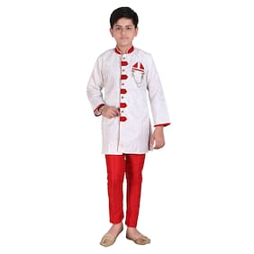 P.K.GARMENTS Boy Raw silk Self design Sherwani - Maroon & White