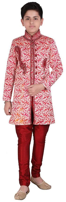 P.K.GARMENTS Boy Raw silk Self design Sherwani - Red