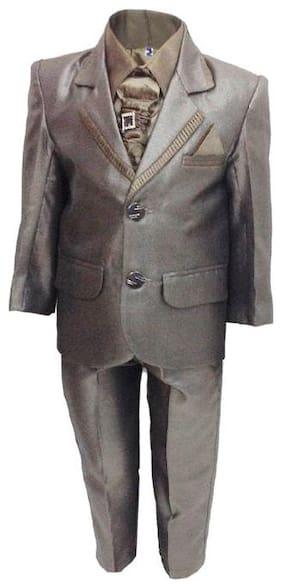 P.K.GARMENTS Boys Polyster Suit Set Grey