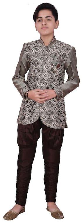 P.K.GARMENTS Boy Raw silk Printed Sherwani - Brown & Grey