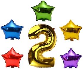 P S Retail 6pcs Set Party Decoration Foil Balloon (5 Star & One Number 2)