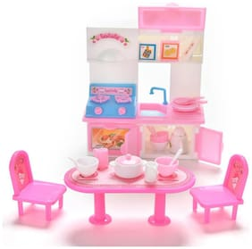 P S Retail Doll Accessories - Dinner Table Cupboard Sink Kitchenware Set House Toys - 20Pcs/set