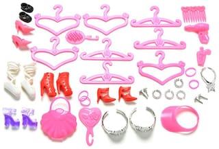 P S Retail Doll Accessories - Shoes Bag Mirror Hanger Comb Bracelet For Dolls Toys (50 pcs)