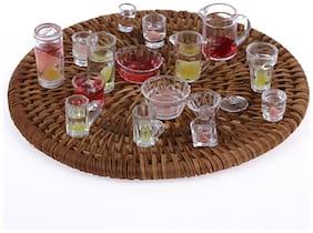 P S Retail Dollhouse Miniature Tableware Set Toy Multicolour (15pcs)