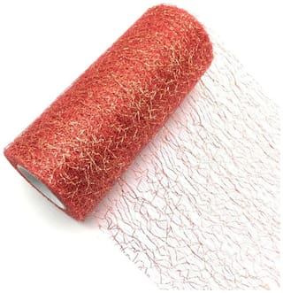 P S Retail Tissue Tulle Roll (Red;Yellow)