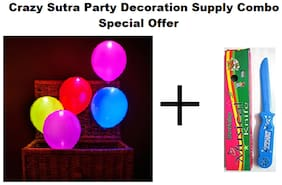 Pack Of 10 Premium Quality Led Balloons + Happy Birthday Musical Knife
