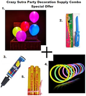 Pack Of 10 Premium Quality Led Balloons+Happy Birthday Musical Knife+Handy Air Balloon Pump/ Balloon Inflator+ Glow Sticks Bands-Premium Lumistick Bracelets-100 pcs Set Assorted Colours