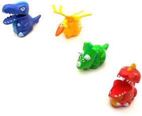 Pack of 4 Press and Go Mini Fast Moving Dinosaur Animal Toy for Kids