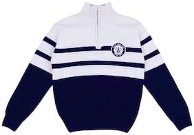 Gini & Jony Boy Polyester Striped Sweater - White