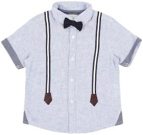 Pantaloons Baby Cotton Self design Shirt for Baby Boy - Blue
