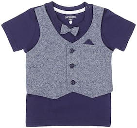Pantaloons Baby Cotton Solid T shirt for Baby Boy - Blue
