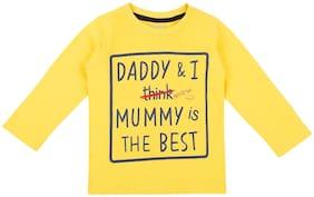 Pantaloons Baby Cotton Printed T shirt for Baby Boy - Yellow