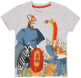 Pantaloons Baby Cotton Printed T shirt for Baby Boy - Grey