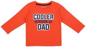 Pantaloons Baby Cotton Printed T shirt for Baby Boy - Orange
