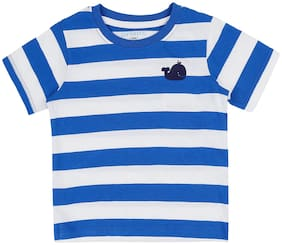 Pantaloons Baby Cotton Striped T shirt for Baby Boy - Blue