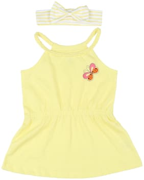 Pantaloons Baby Cotton Solid T shirt for Baby Girl - Yellow