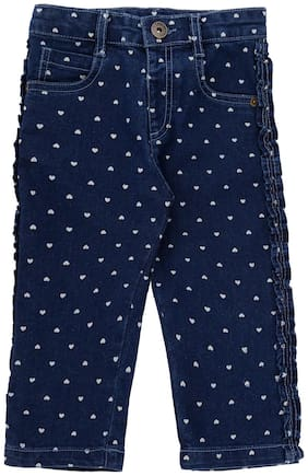 Pantaloons Baby Baby girl Cotton blend Printed Jeans - Blue