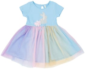 Pantaloons Baby Baby girl Cotton Solid Collar frock - Blue