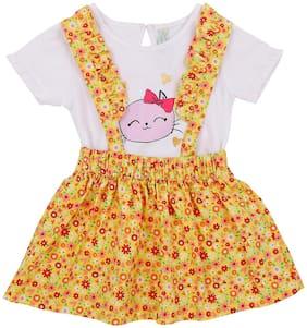 Pantaloons Baby Baby girl Cotton Printed Winterwear onesie and romper - Yellow & White