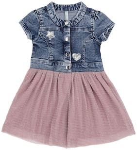 Pantaloons Baby Baby girl Cotton Solid Princess frock - Blue & Pink