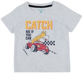 Pantaloons Baby Cotton Printed T shirt for Baby Boy - Grey