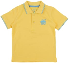 Pantaloons Baby Cotton Solid T shirt for Baby Boy - Yellow