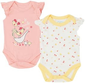 Pantaloons Baby Cotton Printed Top for Baby Girl - Pink
