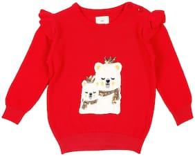 Pantaloons Baby Baby girl Acrylic Printed Sweater - Red