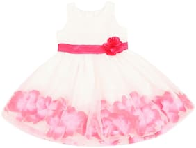 Pantaloons Junior Pink & Cream Satin Sleeveless Knee Length Princess Frock ( Pack of 1 )
