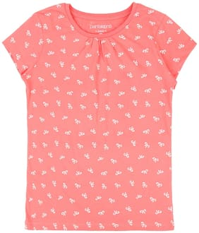 Pantaloons Junior Girl Cotton Printed T shirt - Pink