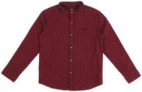 Pantaloons Junior Boy Cotton Printed Shirt Maroon