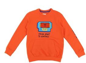 Pantaloons Junior Boy Cotton Printed Sweatshirt - Orange