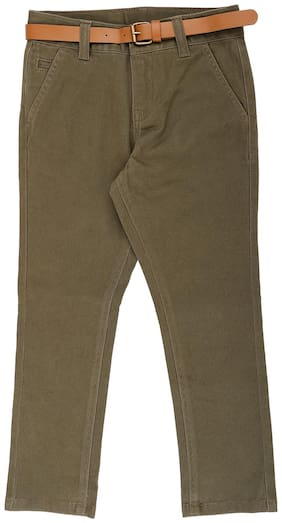 Pantaloons Junior Boy Solid Trousers - Green